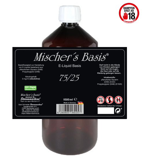 1000ml Mischer´s Basis 75/25 E-Liquid Base VPE 12x
